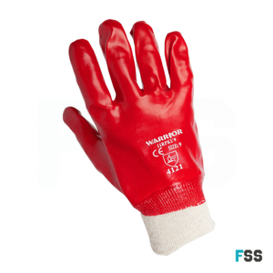 Warrior Red PVC Knit Wrist Glove 0111rpki